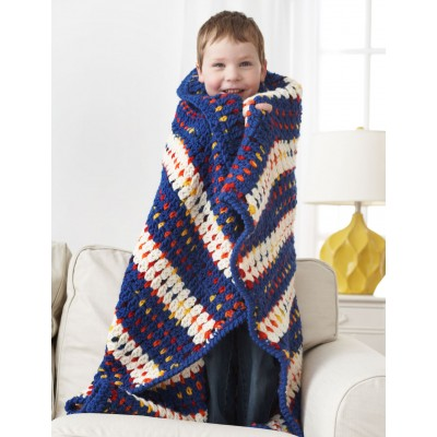 Woven-Look Striped Blanket Free Crochet Pattern