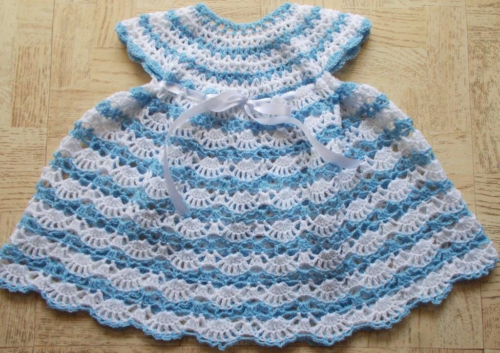 Baby's Shelled Dress Free Crochet Pattern