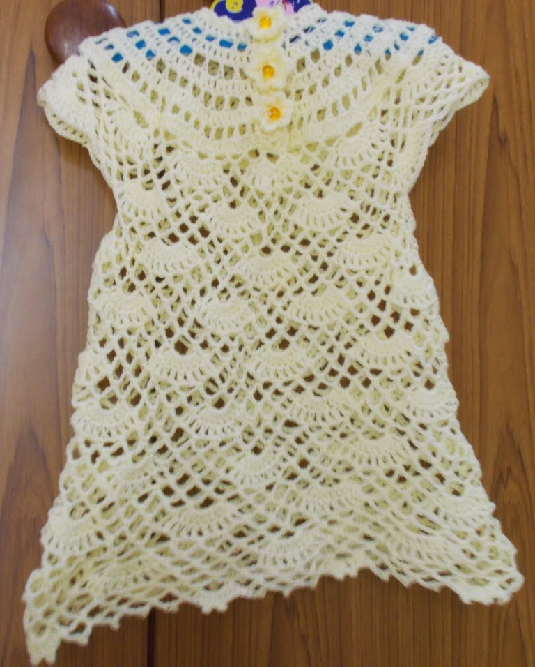 Shelled Baby Dress with Round Yoke Free Crochet Pattern