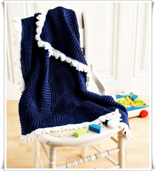 Crochet Mitered Square Baby Blanket for Boys