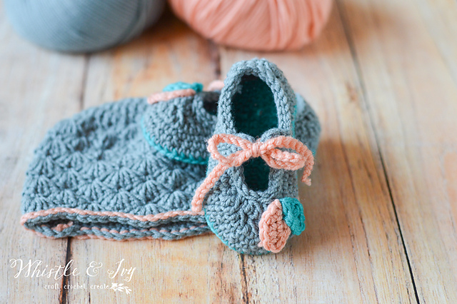 Crochet Petal Princess Baby Set Hat and Shoes
