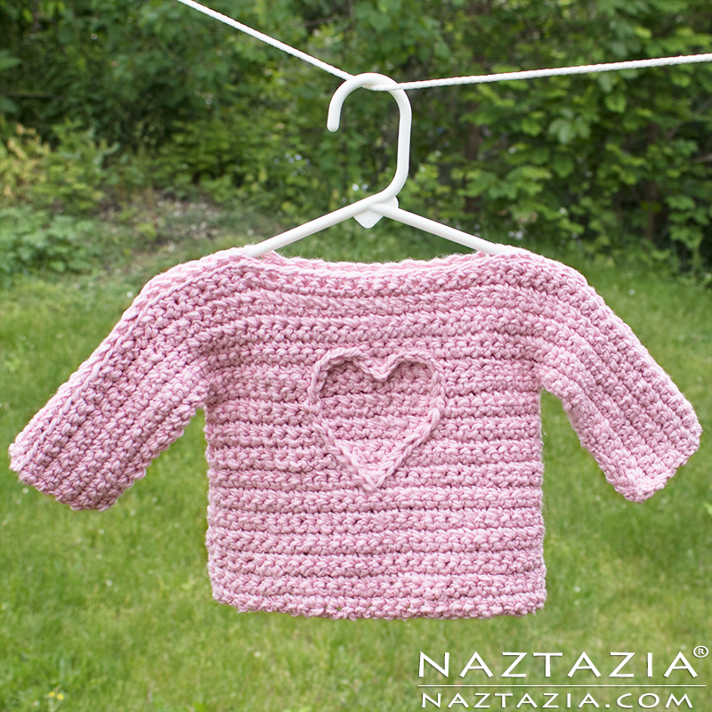 T Sweater Free Baby Crochet Pattern with Heart Motif