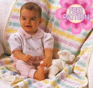 Free Crochet Pattern for a Baby Crochet Stripe Pattern