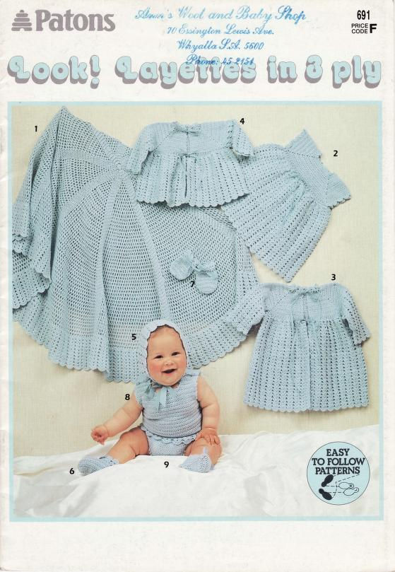Crochet layette pattern for baby in 3 ply