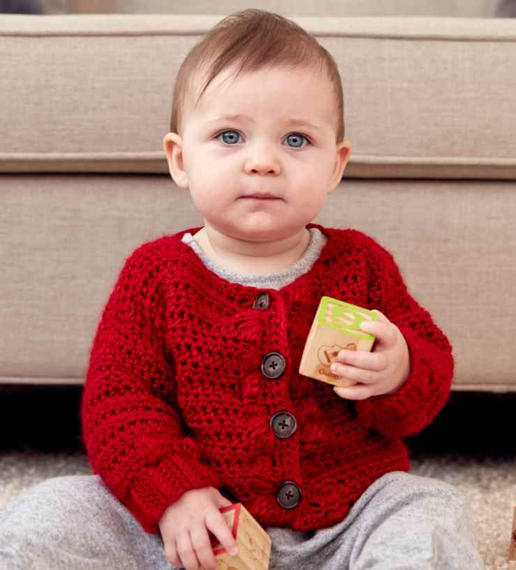 Free Pattern for a Bobble Baby Crochet Cardigan